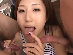 Sexy Oriental mamma in heels acquires stripped and drilled on sofa